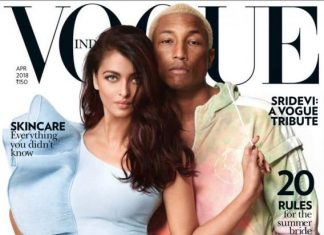 Pharrell Williams and Aishwarya Rai Bachchan on the cover of Vogue India.(Photo: Vogue India)