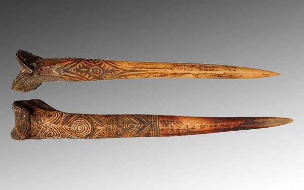 Human bone dagger from New Guinea