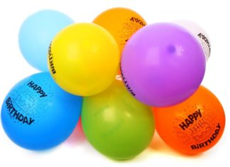 balloons with happy birthday print
